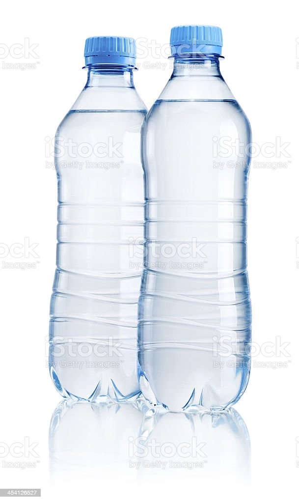 Two plastic bottle of drinking water isolated on white background stock photo