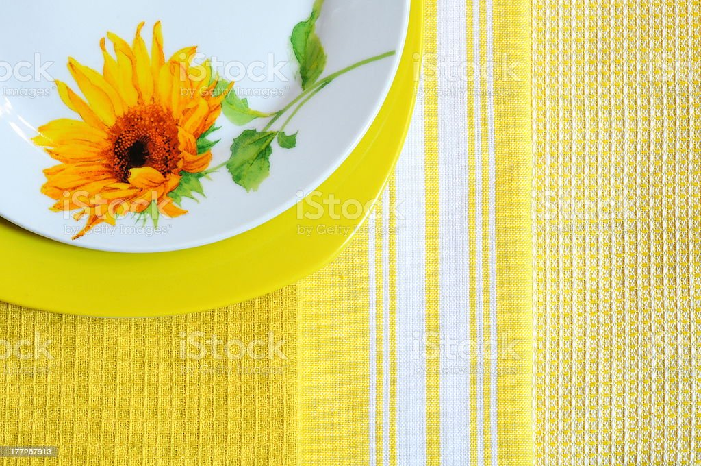 Two plates and multicolored napkins royalty-free stock photo