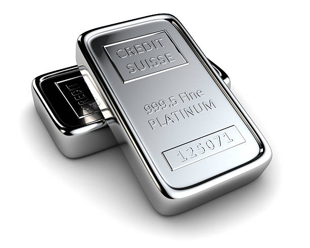 Two platinum ingots stock photo