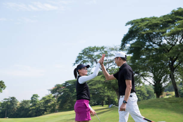 High 5 after that game of golf stock photo