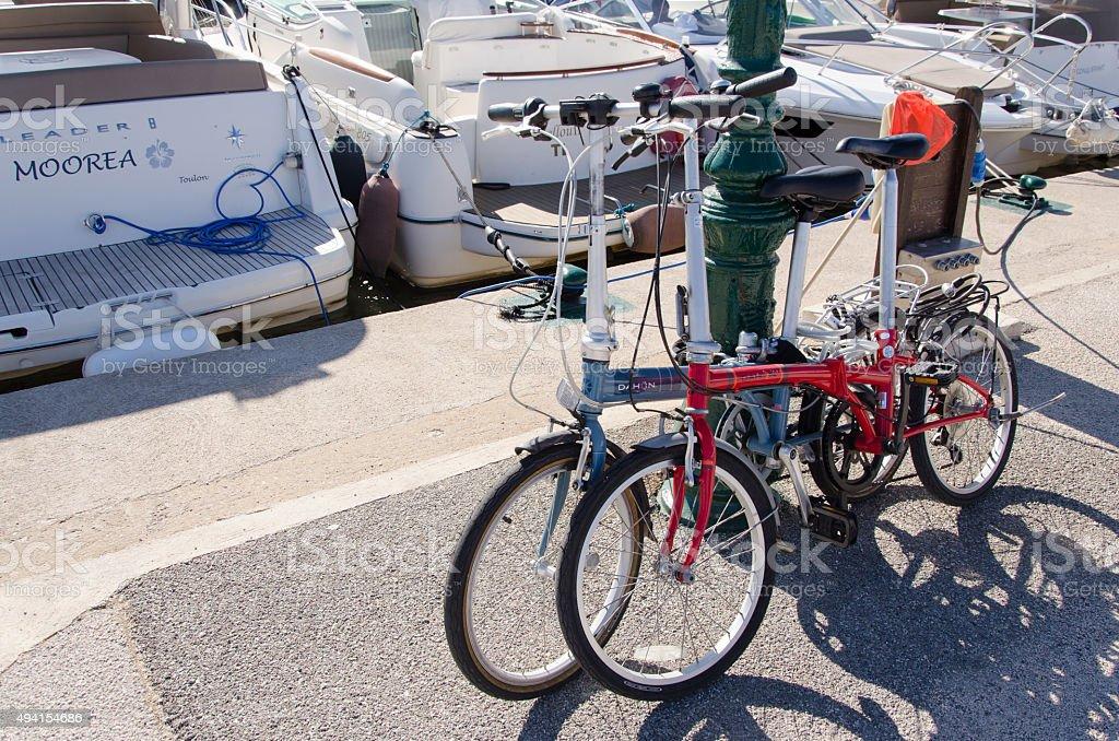 Two pliable bicyles stock photo