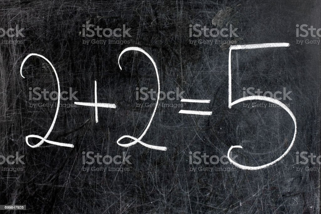 Two Plus Two Equals Five Chalkboard stock photo