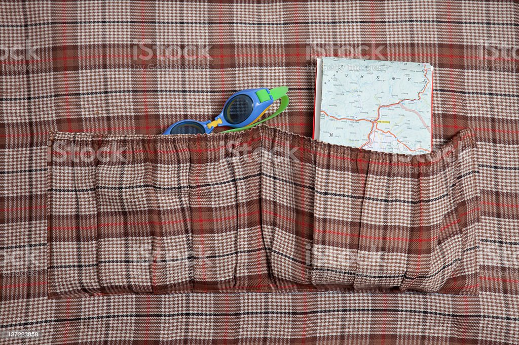 two pockets in a vintage suitcase royalty-free stock photo