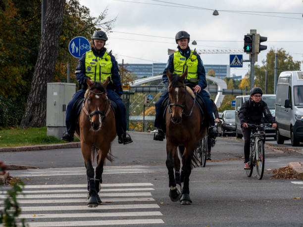 Two police officers from Helsinki police department riding horses in the downtown area. stock photo