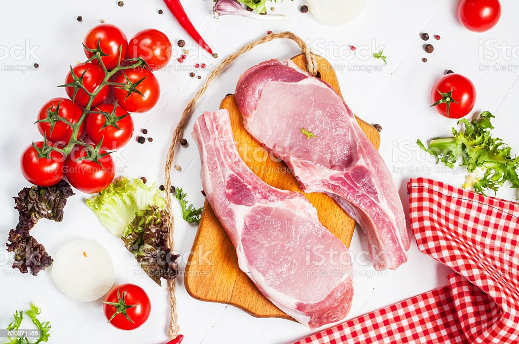 Two pork steak with meat knife and fork foto de stock royalty-free