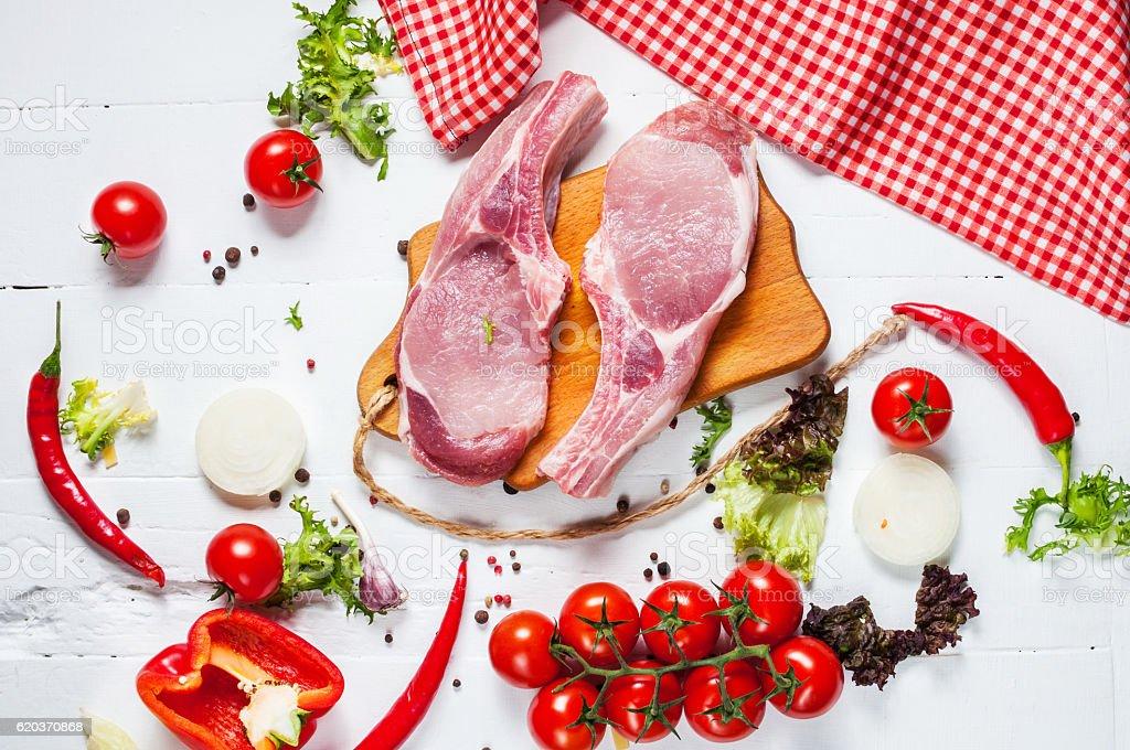 Two pork steak with meat knife zbiór zdjęć royalty-free