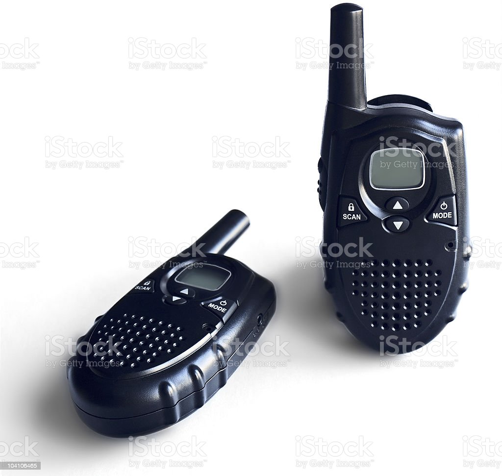 Two portable radio sets on a white background  Antenna - Aerial Stock Photo