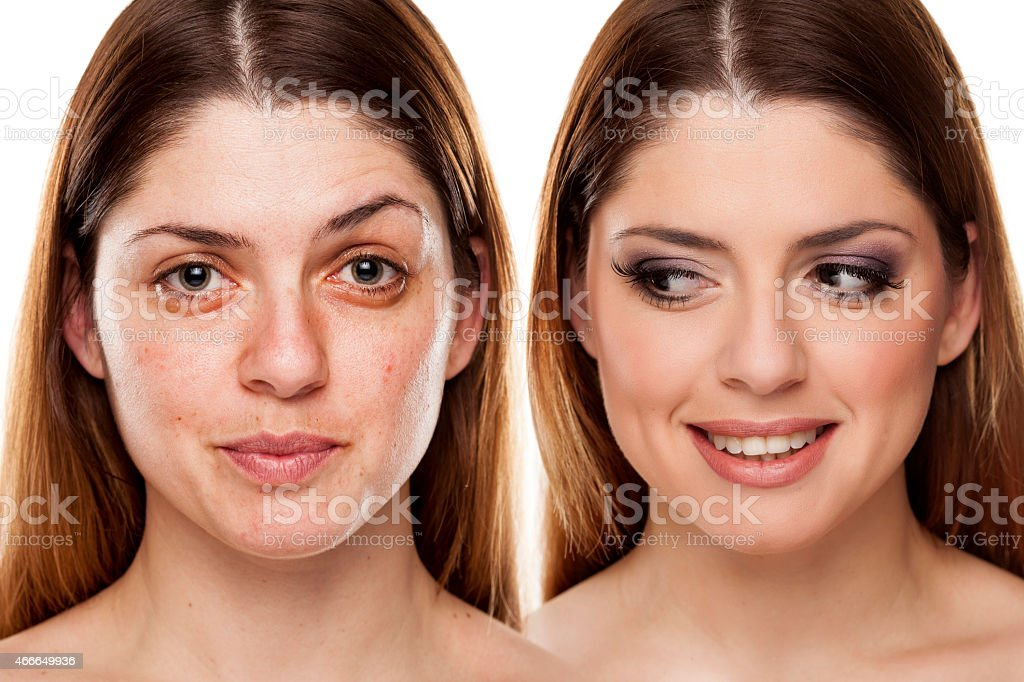 Two portraits of the same woman without and with makeup on stock photo