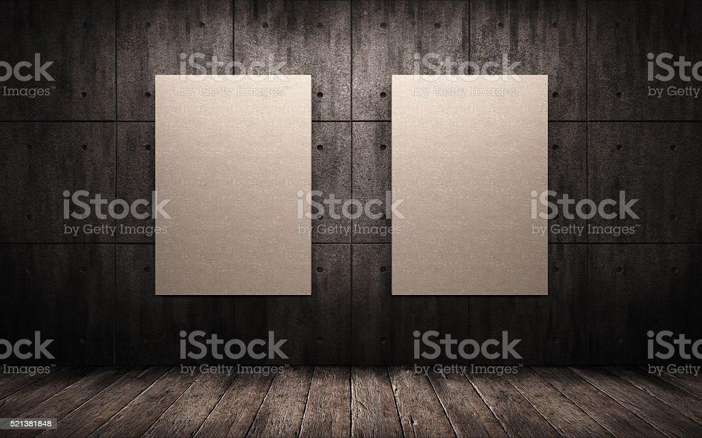 two posters hanging in the industrial interior. mock up stock photo