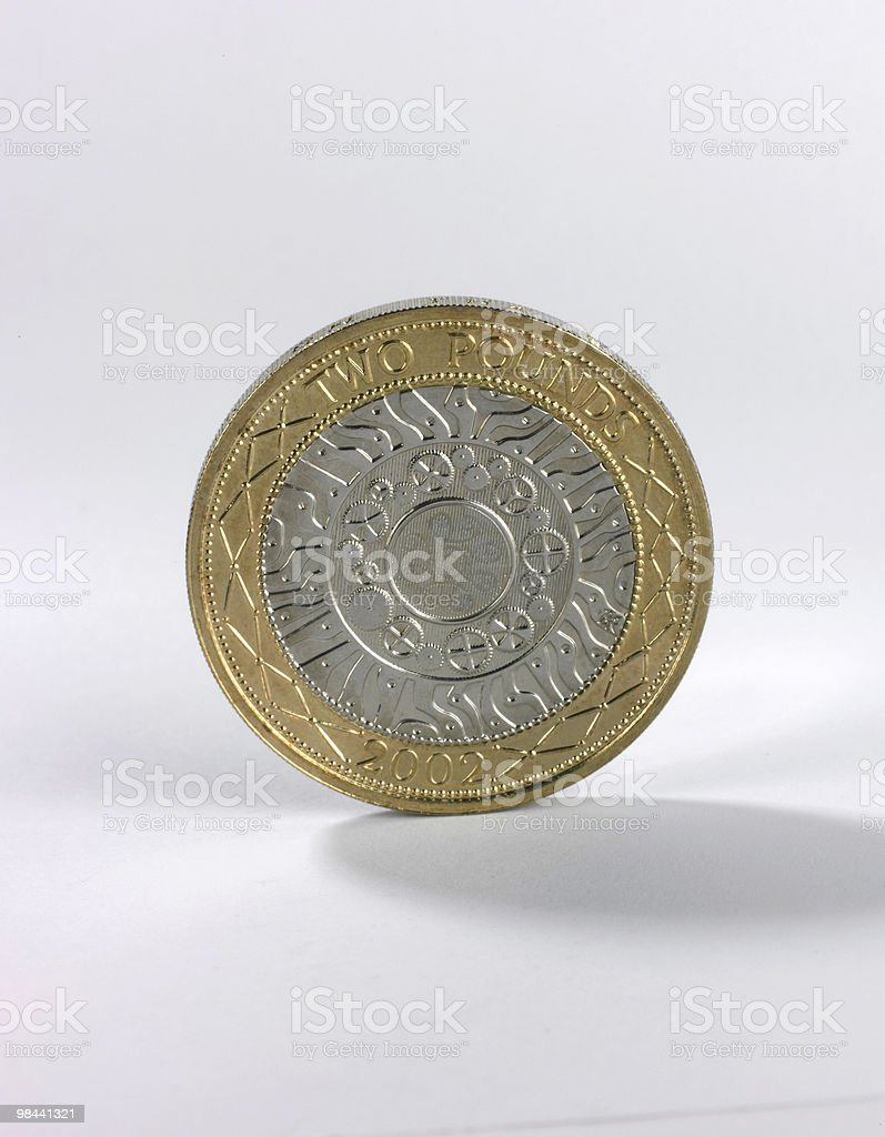 Two pound coin face on royalty-free stock photo