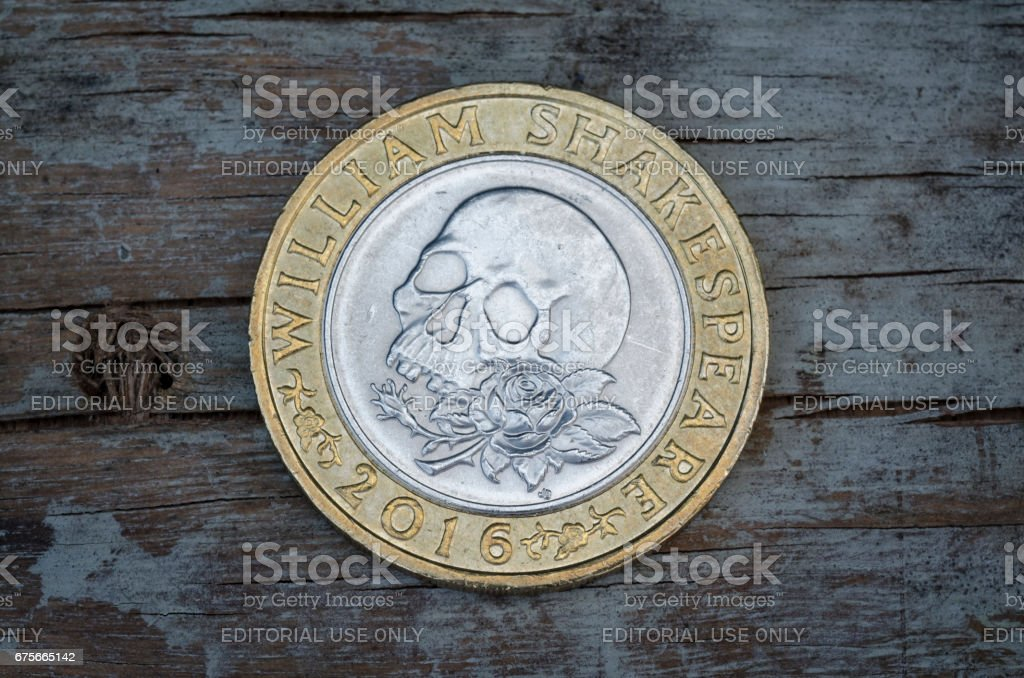Two Pound Coin introduced in 2016. stock photo