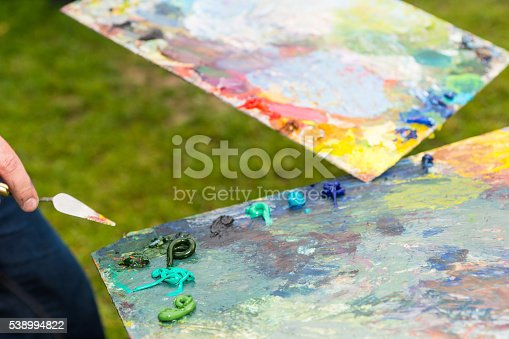 504223972istockphoto Two Prepared Palette With Fresh Paint 538994822