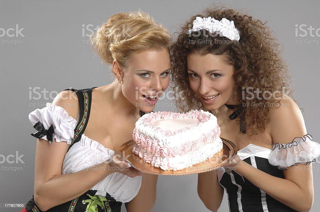 Two pretty girls waitress royalty-free stock photo