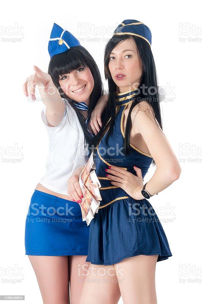Zwei schöne stewardess vereinbart werden mit Geld – Foto