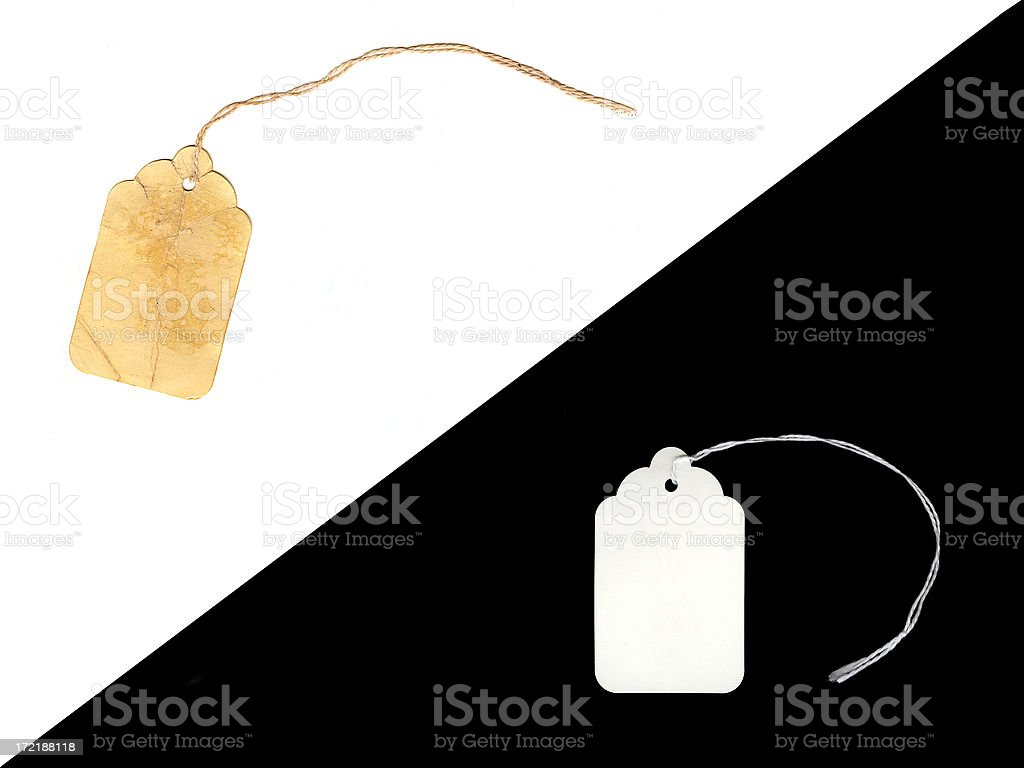 Two Price Tags - New and Vintage royalty-free stock photo