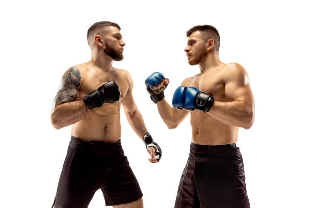two professional boxers boxing isolated on white studio background - combat sport stock pictures, royalty-free photos & images
