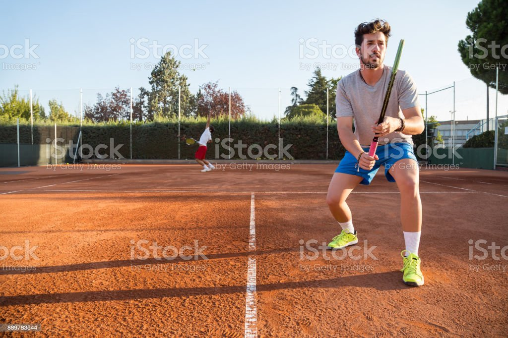 Two professional tennis players competing stock photo