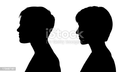 two profiles silhouettes of young white sports women with short hair