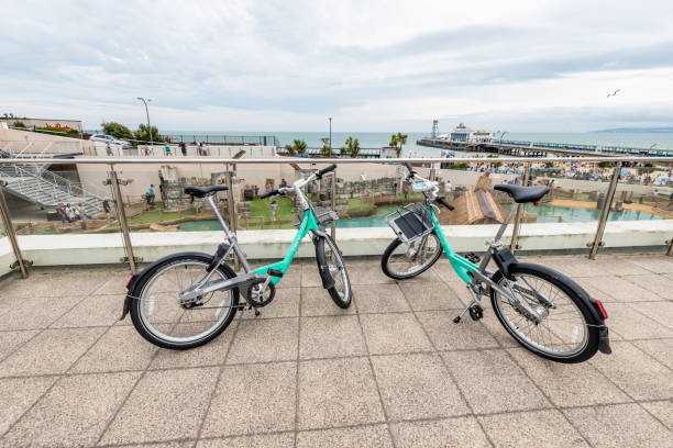 Two public hire bicycles in Bournemouth stock photo
