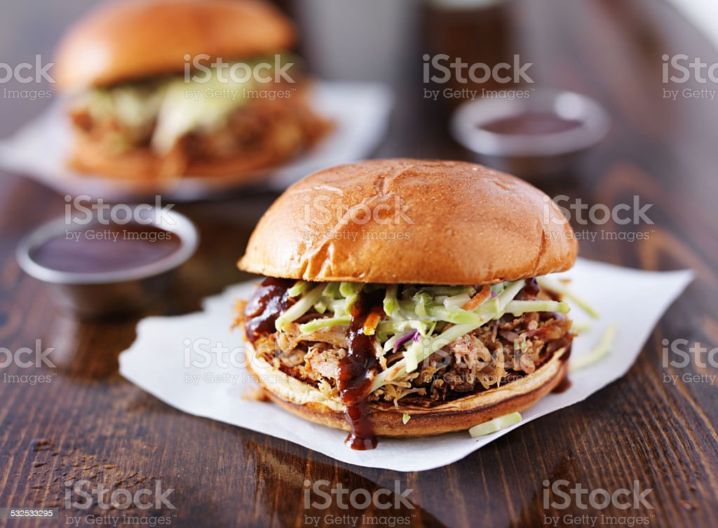 two pulled pork barbecue sandwiches stock photo