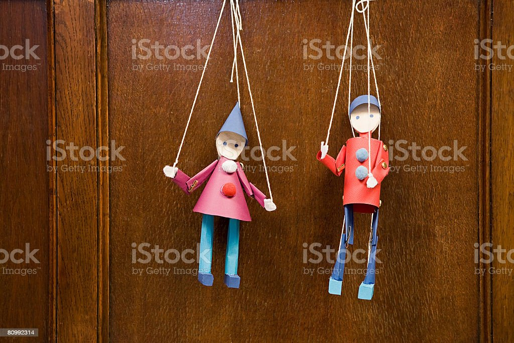 Two puppets stock photo