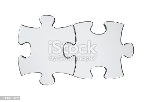 istock Two Puzzle Pieces Isolated 914970422
