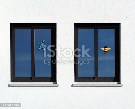 Two UPVC windows with a bee and a frog toys hanging from the glass of each. White wall background