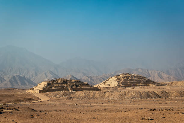 two pyramids in Caral, Peru stock photo