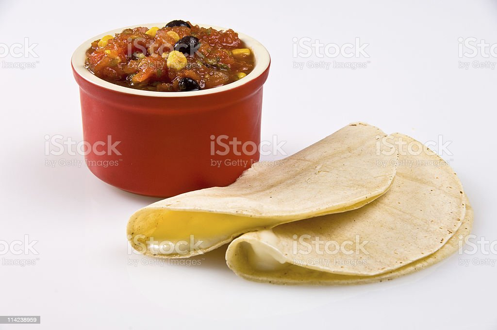 Two quesadillas and salsa stock photo