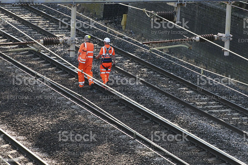 Two railway workers stock photo