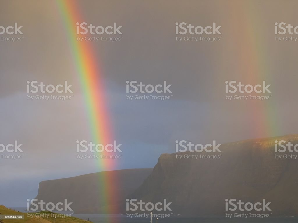Two Rainbows simultaneously royalty-free stock photo