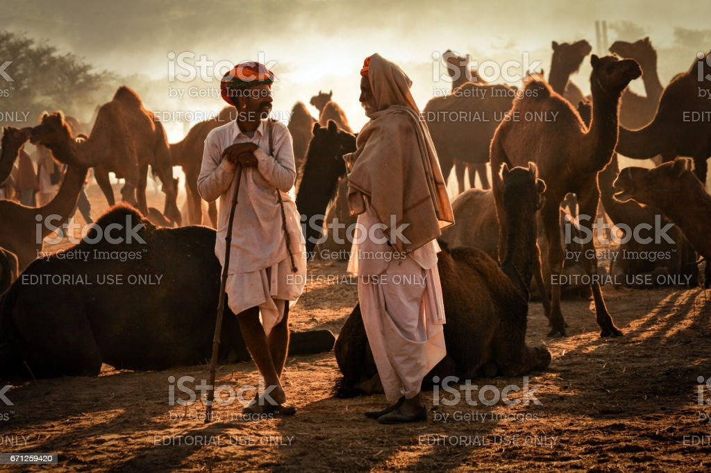 Two Rajasthani Indian men in a discussion at Pushkar Camel Fair stock photo