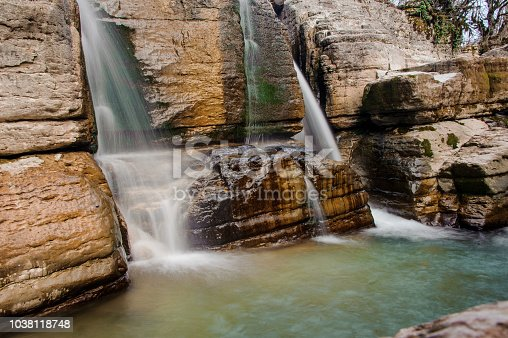 1131408581istockphoto Two rapid waterfall streams flowing down the rock in Martvili canyon on autumn day 1038118748