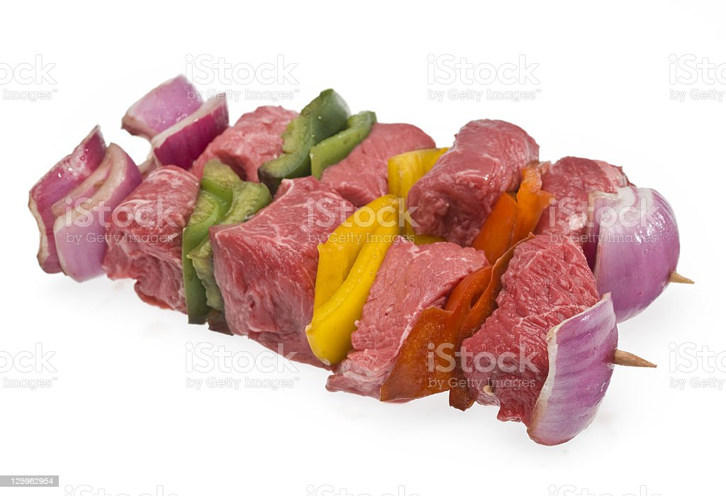 Two raw Beef Brochettes royalty-free stock photo