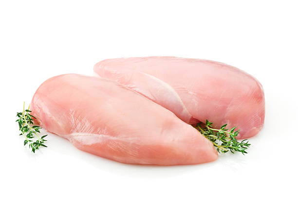 Two raw chicken breast on white backdrop stock photo
