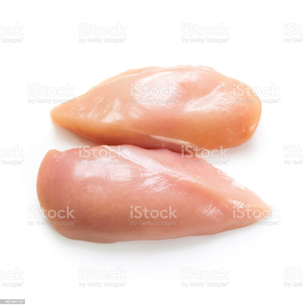 Two raw chicken breasts on a white background stock photo