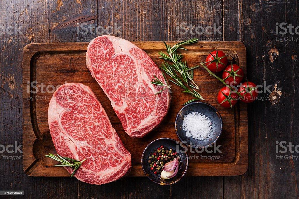 Two Raw fresh marbled meat Black Angus Steak Ribeye stock photo