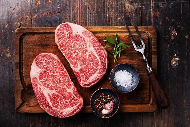 Two Raw fresh marbled meat Steak Ribeye stock photo