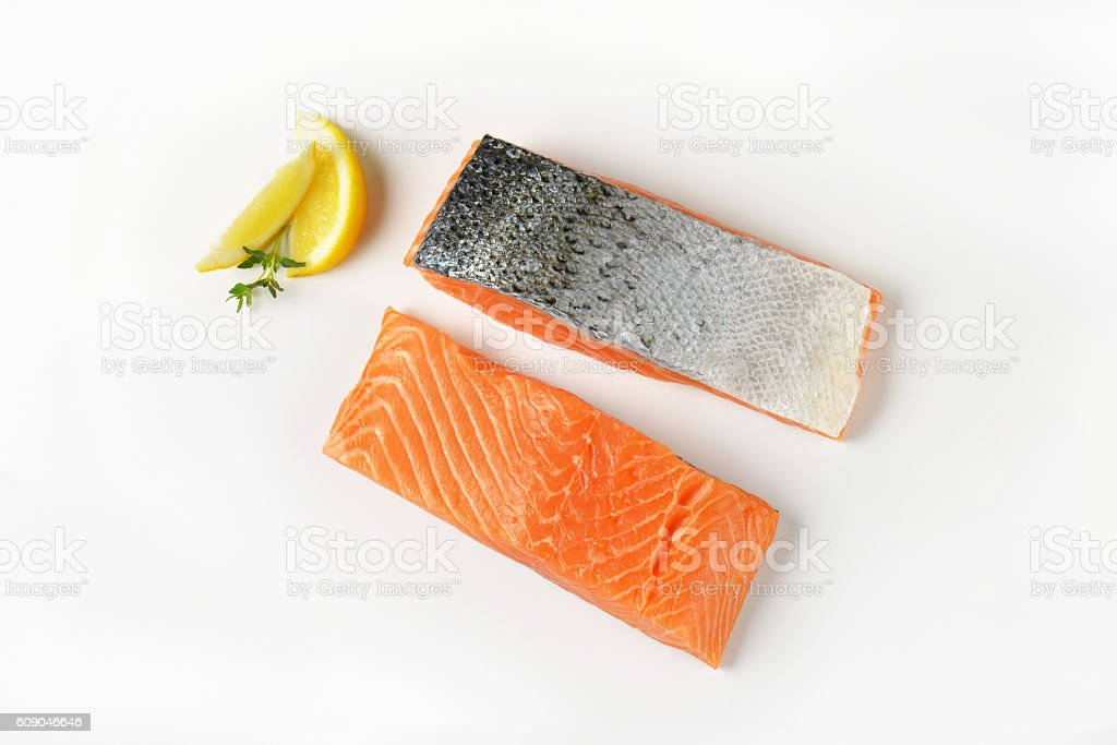 Two raw salmon fillets stock photo