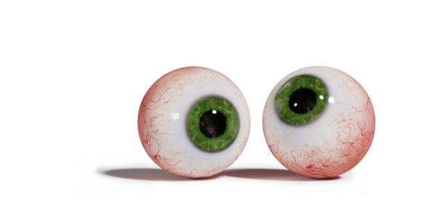 zwei realistische menschliche Augäpfel mit grünen Iris, isoliert auf weißem Hintergrund (3d Illustration) – Foto