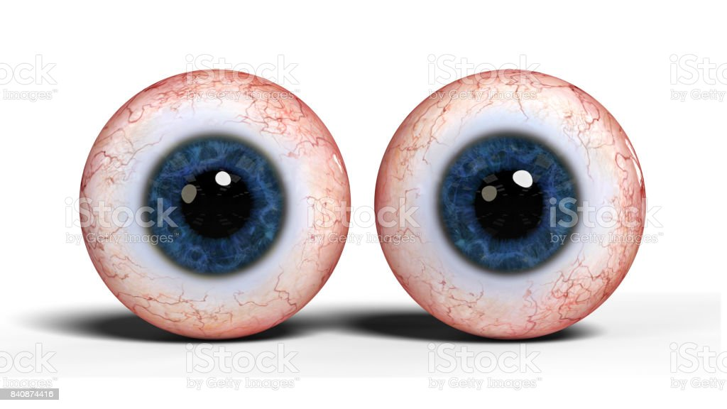 two realistic human eyes with blue iris, isolated on white background stock photo