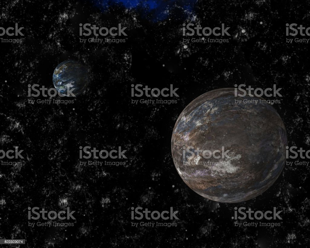 Two realistic planets in the cosmos (3D illustration) stock photo