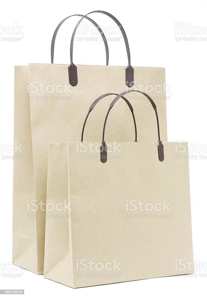 Two recycled paper shopping bags royalty-free stock photo