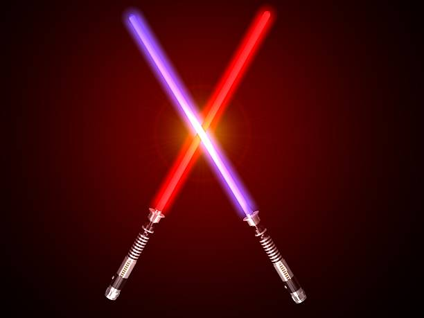 two red and blue 3d light future swords fight glow stock photo