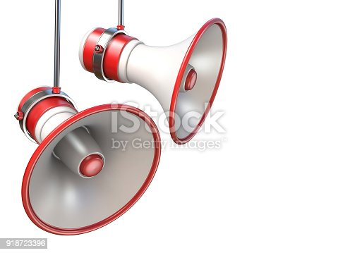 istock Two red and white megaphones 3D 918723396