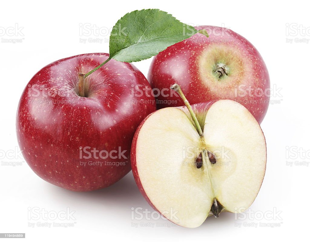 Two red apple and half of one. royalty-free stock photo