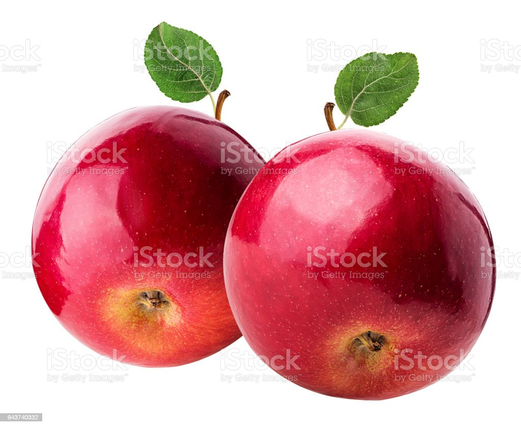 Two red apple with gree leaf stock photo