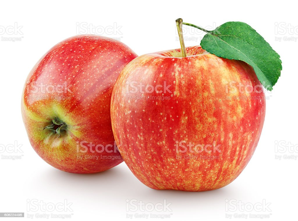 Two red apples with leaf isolated on white stock photo