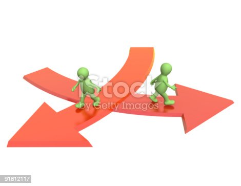 Conceptual image - different direction in business