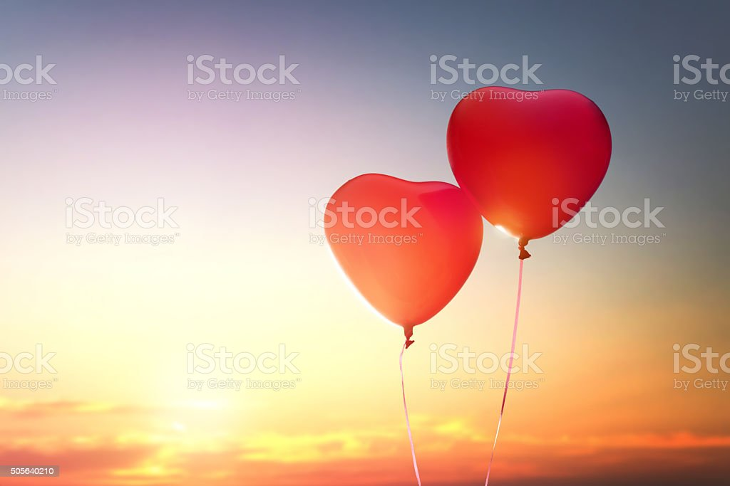 two red balloons stock photo